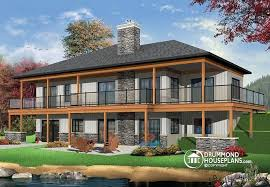 House plan W detail from DrummondHousePlans comRear view   BASE MODEL Lakefront house plan  bedrooms  open floor plans