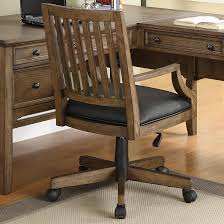 image of wood swivel desk chair and table antique office chair