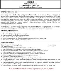 primary teacher cv example   job seekers forums