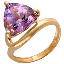 <b>Кольцо с 1 аметистом</b> из красного золота, классика (1 камней ...