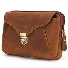 TONGDAUR Men's Pocket Bag 7-inch <b>Crazy Horse Leather</b> Phone ...