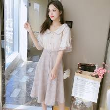 Summer Vintage Korean Plaid Top and Skirt Midi Beach Sundress ...
