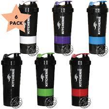 KITCHENIE Protein <b>Shaker Bottle BPA Free</b>-6 Pack-Easy Grip-<b>Leak</b> ...