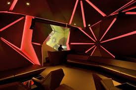 dj area of cool bar with black theme and amazing lighting amazing lighting