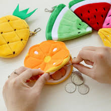 <b>100PCS</b> / <b>LOT</b> Kawaii Fruits Plush Coin Bag New Purse Zipper Key ...