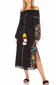 <b>Fashionable</b> Off the Shoulder Floral Embroidered Tassel Belted Split ...