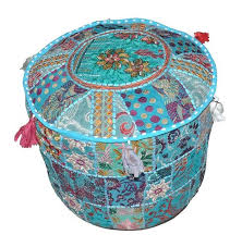 <b>Round Cotton</b> Indian <b>Patchwork Pouf Pouffe</b> Decorative <b>Ottoman</b>, Rs ...