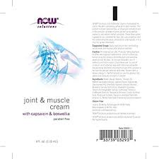 NOW <b>Solutions</b>, <b>Joint</b> & <b>Muscle</b> Cream with Capsaicin and Boswellia ...