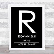 Rovaniemi Finland Coordinates Black & White World ... - Amazon.com
