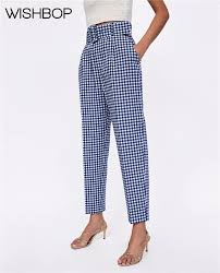 2018 Summer New Women Casual Gingham Checkered Pants With ...