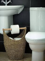 dog faces ceramic bathroom accessories shabby chic: kill two birds with one stone by turning a basket into a toilet paper organizer and