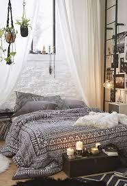 shabby chic furniture boho style bedroom set up bed bedspread ethnic black white boho chic furniture