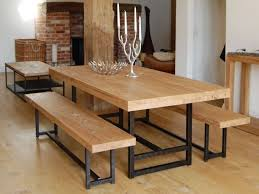 metal dining table base legs bennysbrackets: furniture rectangle light brown wooden table and bench with black steel legs plus foot rest placed on the brown wooden flooring astounding wood and metal