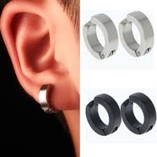 【LK】<b>1 Pair Men</b> Stainless Steel Non-Piercing Clip On Ear Stud ...
