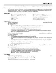 vehicle technician resume sample free download sample automotive technician resume