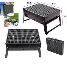 Folding <b>Portable Outdoor Barbeque</b> Charcoal <b>Bbq Grill Oven</b> Black ...