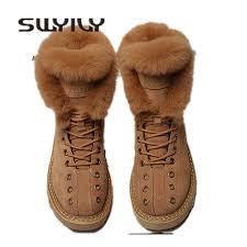 <b>SWYIVY</b> Martin Boots Shoes Woman Rabbit <b>Fur</b> Warm Plush 2019 ...