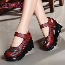 GKTINOO <b>Genuine Leather Women</b> Shoes 5CM High Heels ...