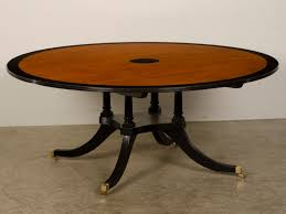 round dining table base: furniture brown sheraton style round dining table top with black unusual tropical timber base on