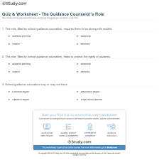 quiz worksheet the guidance counselor s role com print the role of the school guidance counselor worksheet