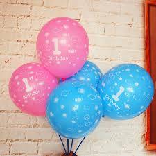 10pcs Or <b>5pcs</b>/Set 1st Birthday Balloon <b>12 Inch</b> Blue Pink Clear ...