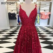 <b>Sofuge</b> Burgundy Sky Blue Long Evening Dresses Prom Lace ...