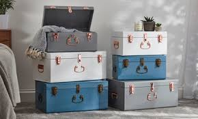<b>Two</b>-<b>Piece</b> Metal <b>Storage</b> Trunk Set in Choice of Colour