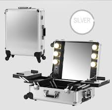 silver makeup artist train box with lights station portable studio wheeled case aluminum cosmetic case with artist studio lighting