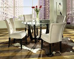 Dining Room Sets Glass Table Dining Room Design Pretty White Tufted Parsons Chairs With Black
