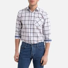 <b>Рубашка зауженная</b> с длинными рукавами с принтом в клетку в ...