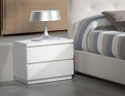 Modern and <b>stylish</b> 2 drawer high gloss <b>bedside cabinet</b> in white ...