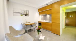 superb design of the kitchen areas with brown wooden cabinets and white wall added with grey compact apartment furniture