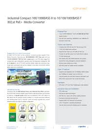 Industrial Compact 100/1000BASE-X to 10/100/1000BASE-T 802.at ...