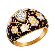 <b>Кольцо с орнаментом чёрно-золотого</b> цвета SOKOLOV – купить в ...
