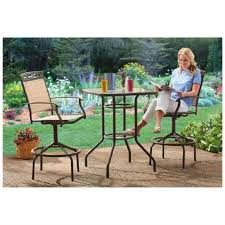 furniture stylish 3 pc castlecreek bar height patio set powder coated steel frames in espresso color balcony height patio dining furniture