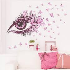 2016 new big eye art wall sticker beauty salon diy vinyl removable home decor stickers living beauty room furniture