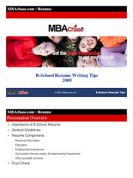 B School Resume Writing Tips