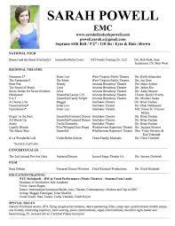 musical theatre resume examples sample musical theatre resume