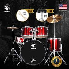 <b>NEON</b> Kong <b>5</b>-<b>Piece</b> X5 Acoustic Drum Set with Cymbals Stands ...