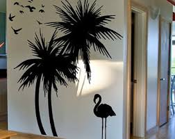palm tree wall stickers: palm trees wall decal with flamingo and birds wall decal deco art sticker mural self adhesive vinyl free shipping