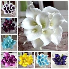 14 Colors <b>5pcs</b> Calla Lily Bridal Wedding Bouquet <b>Real Touch</b> ...