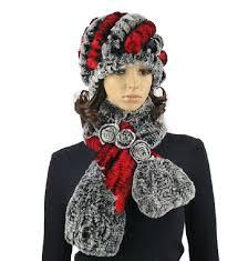 fur hat and <b>scarf</b> set for <b>women</b> girls <b>winter</b> hat set of natural rex ...