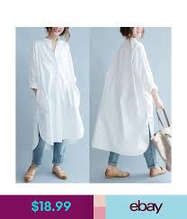 <b>Korean Women Cotton</b> Casual Oversize Button Down Shirt Loose ...