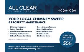 all clear chimney cleaning bluefusion lyttelton and banner advert for the local telephone directory