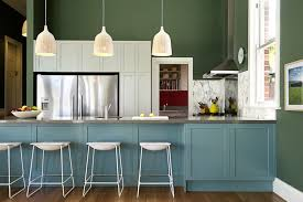 painted blue kitchen cabinets house: white pendant lamp kitchen decor with cool minimalist house kitchen cabinet design painted blue with large