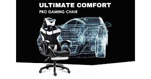 Ultimate Comfort Pro <b>Gaming Chair Racing Office</b> Chair White with ...