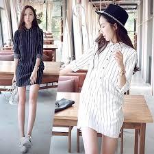 <b>2017</b> small <b>fresh striped dress</b> loose long shirt bottoming shirt <b>dress</b> ...