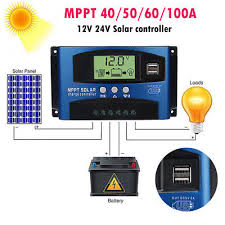 30-100A MPPT <b>Solar Panel</b> Regulator Charge Controller <b>12V</b>/<b>24V</b> ...