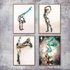 Watercolor Naked Sexy Women Nude <b>Yoga Girl</b> Wall Art Canvas ...