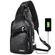 Online Shop <b>Bags Leisure</b> Leather USB Charge <b>Man Shoulder Bag</b> ...